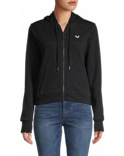 Ватная черная длинная куртка с капюшоном True Religion