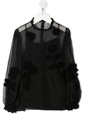Шелковая черная блузка прозрачная Dolce & Gabbana Kids
