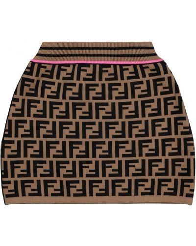 Brązowa spódnica z wiskozy Fendi Kids