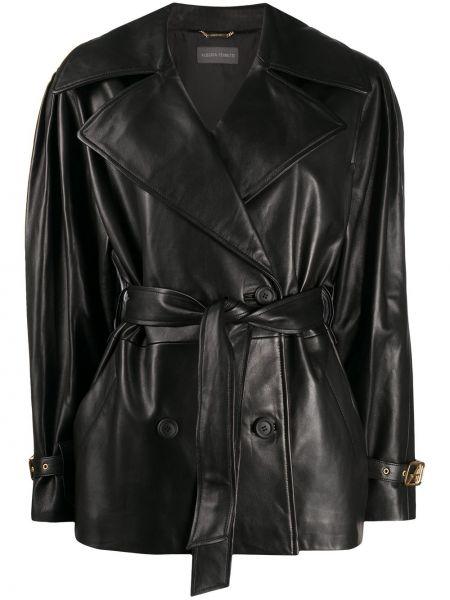 Черная длинная куртка с манжетами с воротником с карманами Alberta Ferretti