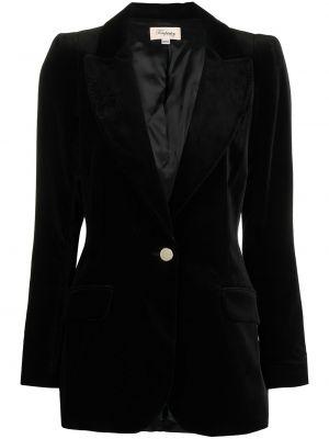 Бархатный черный удлиненный пиджак на пуговицах с подкладкой Temperley London