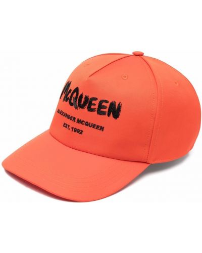 Pomarańczowa czapka bawełniana z printem Alexander Mcqueen