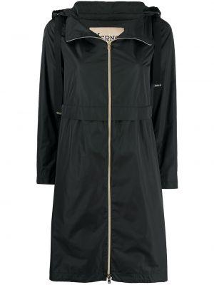 Czarny płaszcz przeciwdeszczowy z długimi rękawami z kapturem Herno