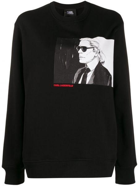 Черный топ свободного кроя Karl Lagerfeld