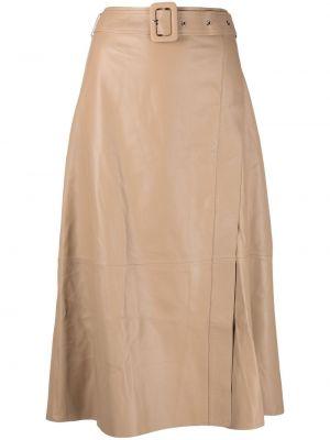 Прямая с завышенной талией кожаная юбка миди Arma