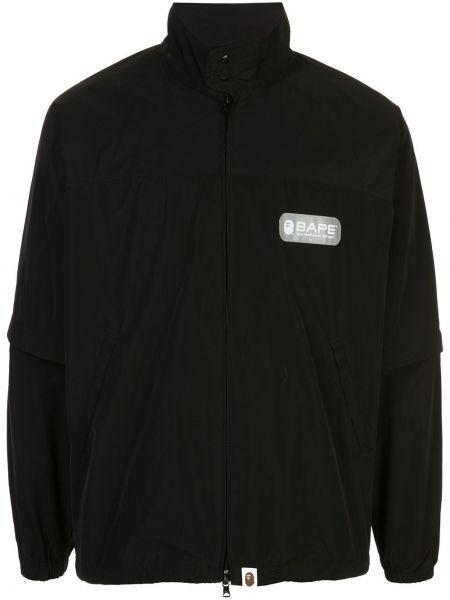 Черная куртка на пуговицах круглая с вырезом Bape