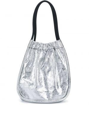 Кожаная серебряная сумка-тоут круглая Proenza Schouler