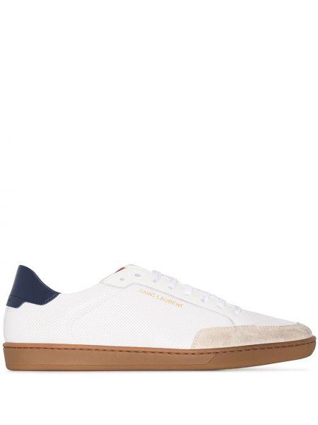 Skórzane sneakersy białe Saint Laurent