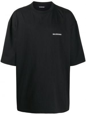 Bawełna prosto czarny koszula z krótkim rękawem krótkie rękawy Balenciaga