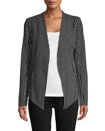 Черный удлиненный пиджак с карманами в полоску Bcbgeneration