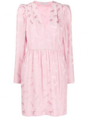 Платье макси с длинными рукавами - розовое Stella Mccartney