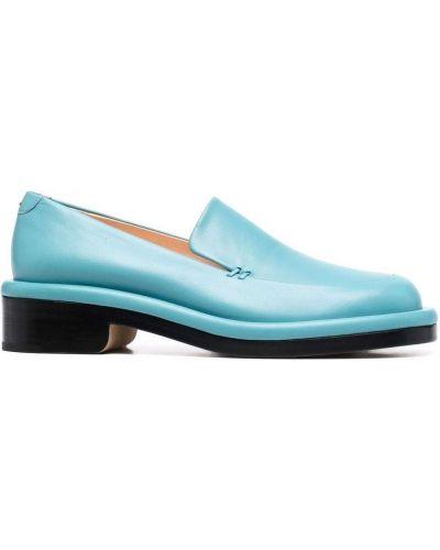 Niebieskie loafers na niskiej szpilce skorzane Nicholas Kirkwood