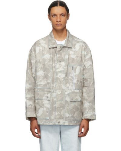 Bawełna srebro długa kurtka z mankietami z kołnierzem Marcelo Burlon County Of Milan