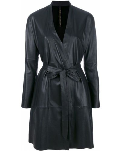 Черное кожаное пальто с поясом Olsthoorn Vanderwilt