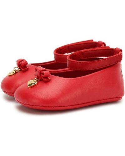Красные пинетки кожаные Dolce & Gabbana