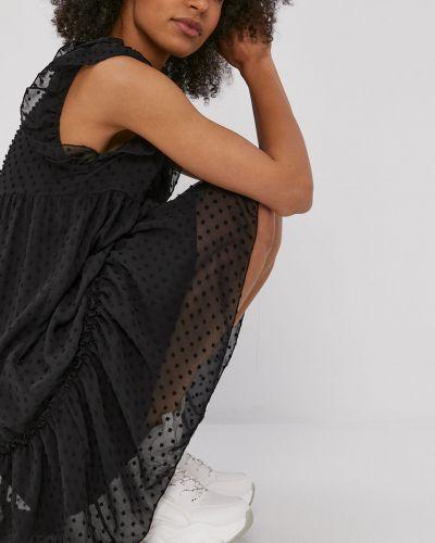 Czarna sukienka mini z falbanami z wiskozy Hailys