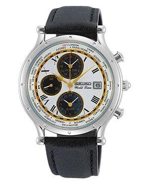 Кожаные белые часы с кожаным ремешком круглые с поясом Seiko