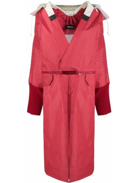 Красное шерстяное пальто с капюшоном Undercover
