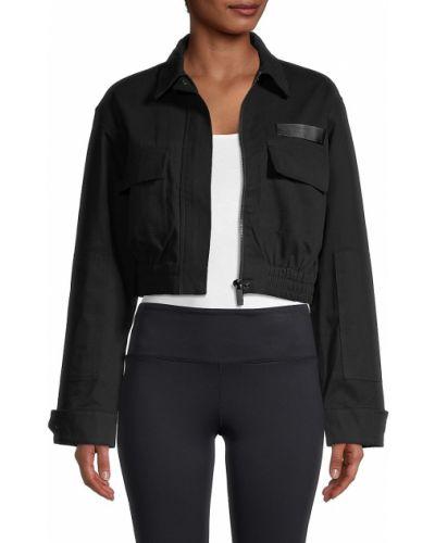 Черная укороченная длинная куртка с воротником Alala