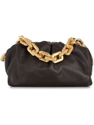 Кожаная коричневая кожаная сумка с карманами Bottega Veneta