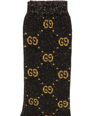 Prążkowane czarne skarpety bawełniane Gucci