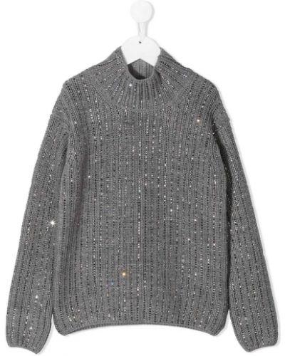 Серый вязаный свитер с воротником с пайетками Ermanno Scervino Junior