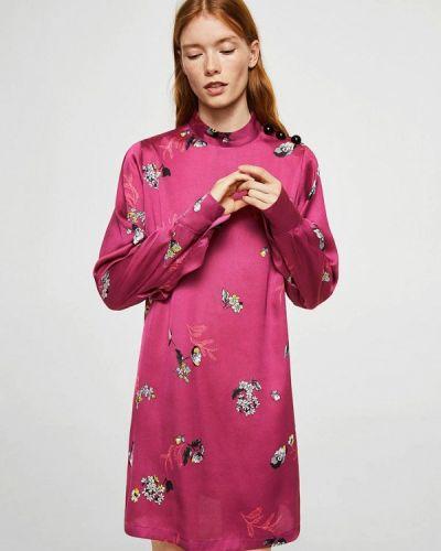 Розовое платье с длинными рукавами Mango