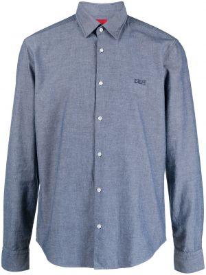 Синяя классическая рубашка с воротником с вышивкой Boss Hugo Boss