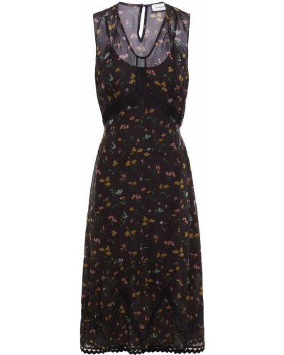 Шифоновое платье миди - черное Coach