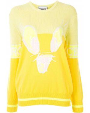 Желтый свитер с пайетками в рубчик с круглым вырезом Iceberg