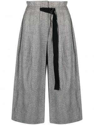 Свободные хлопковые серые укороченные брюки Tela