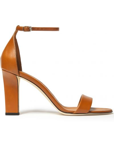 Sandały skórzane na obcasie - brązowe Victoria Beckham