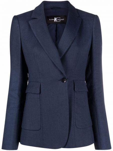 Ватная синяя длинная куртка с карманами Luisa Cerano