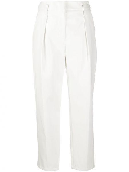 Белые брюки со складками из вискозы с потайной застежкой Tela