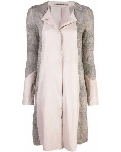 Серебряное длинное пальто с капюшоном на пуговицах Transit