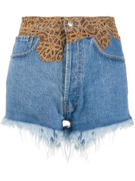Джинсовые шорты с бахромой - синие Forte Dei Marmi Couture