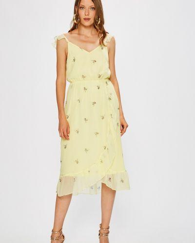 Платье миди с V-образным вырезом на бретелях с оборками Vero Moda