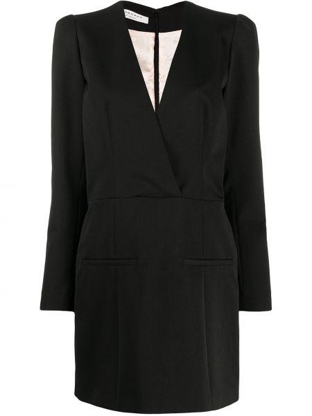Черное приталенное платье мини с длинными рукавами с V-образным вырезом Philosophy Di Lorenzo Serafini