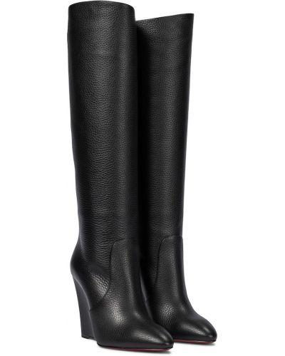 Skórzany czarny buty obcasy w połowie kolana Christian Louboutin