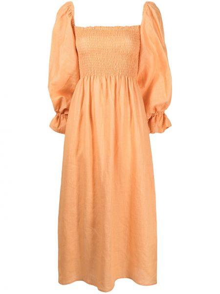 Pomarańczowa lniana sukienka midi z długimi rękawami Sleeper