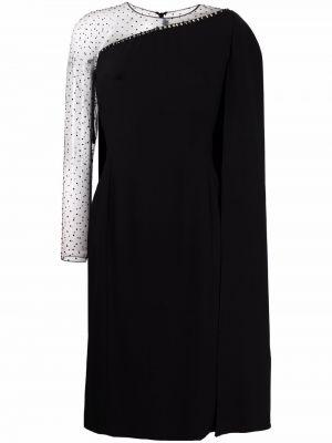 Черное платье макси с длинными рукавами сетчатое Jenny Packham