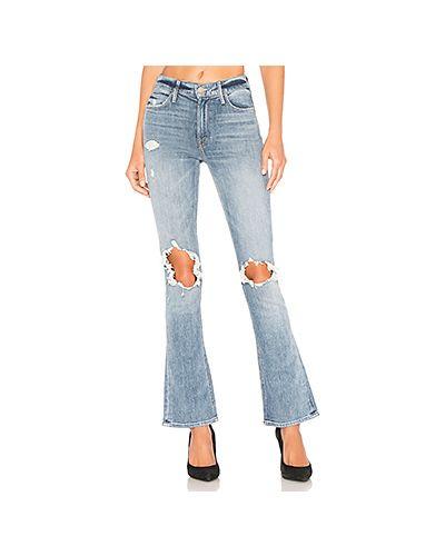 Расклешенные джинсы рваные на пуговицах Mother