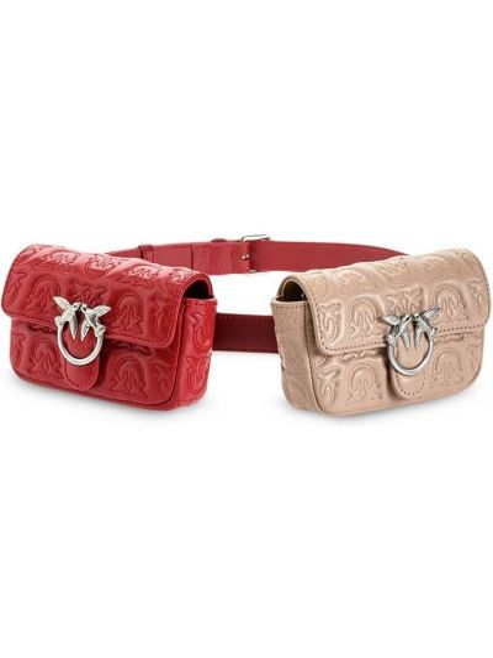 Красная нейлоновая стеганая поясная сумка с декоративной отделкой Pinko