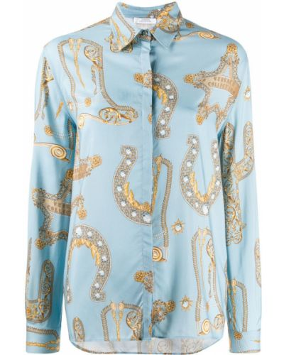 Синяя классическая рубашка с воротником с манжетами Versace Collection