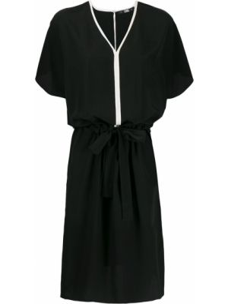 С рукавами шелковое черное платье мини Karl Lagerfeld