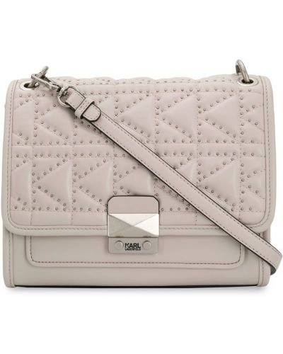 Кожаная сумка на цепочке бежевый Karl Lagerfeld