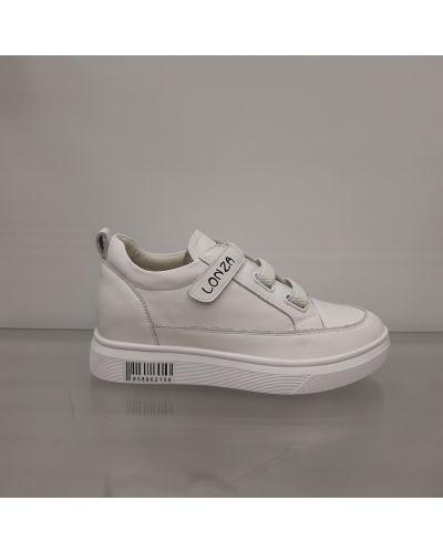 Кожаные кроссовки - белые Lonza