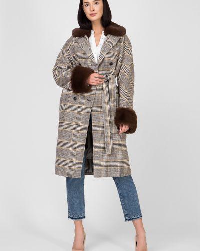 Пальто с мехом - коричневое Kano
