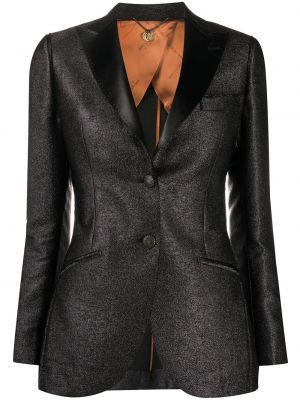 Приталенная черная куртка на пуговицах металлическая Maurizio Miri