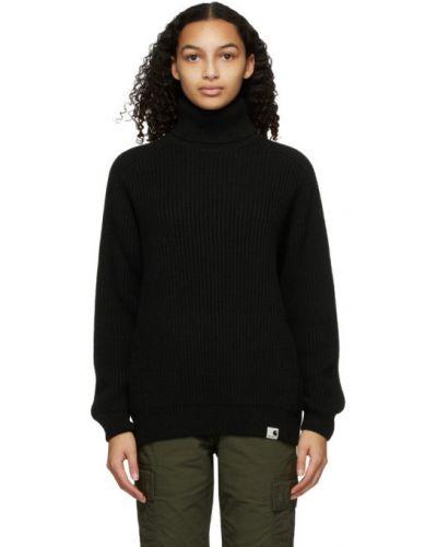 Z rękawami wełniany czarny długi sweter z kołnierzem Carhartt Work In Progress